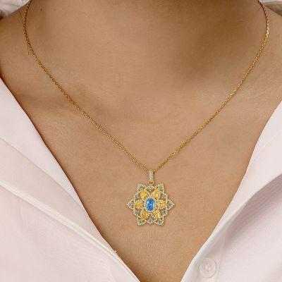 Azul Collar Hexagrama Gems