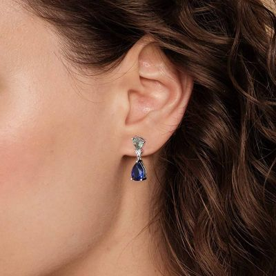 Pendientes De Cristal Azul