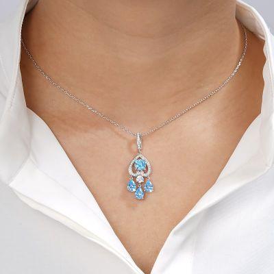 Invertida Collar Azul Del Corazón