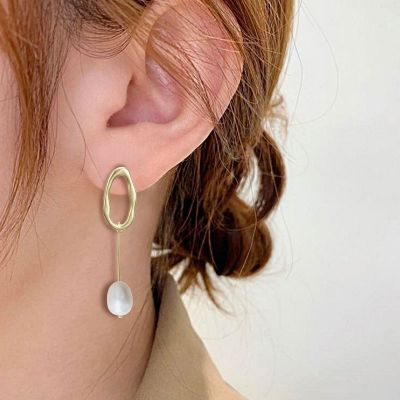 Pendientes colgantes de aro de perlas