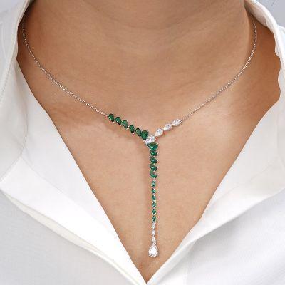 Collar De Plata Gemas Verdes
