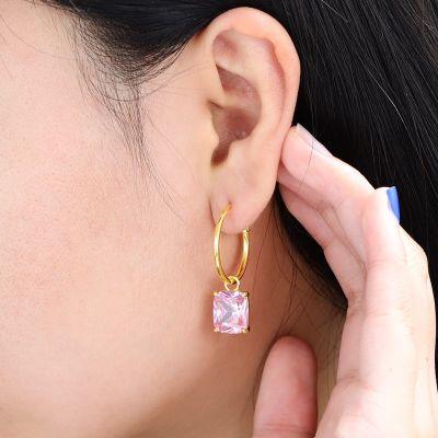 Pendientes Cristalinos Del Aro De Color Rosa